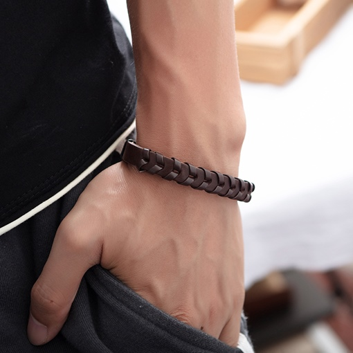 Ericdrss Leather Knit Chic Men's Bracelets