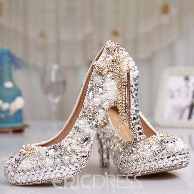 e8a125061 Ericdress Rhinestone Chunky Heel Round Toe Wedding Shoes 13735809 ...