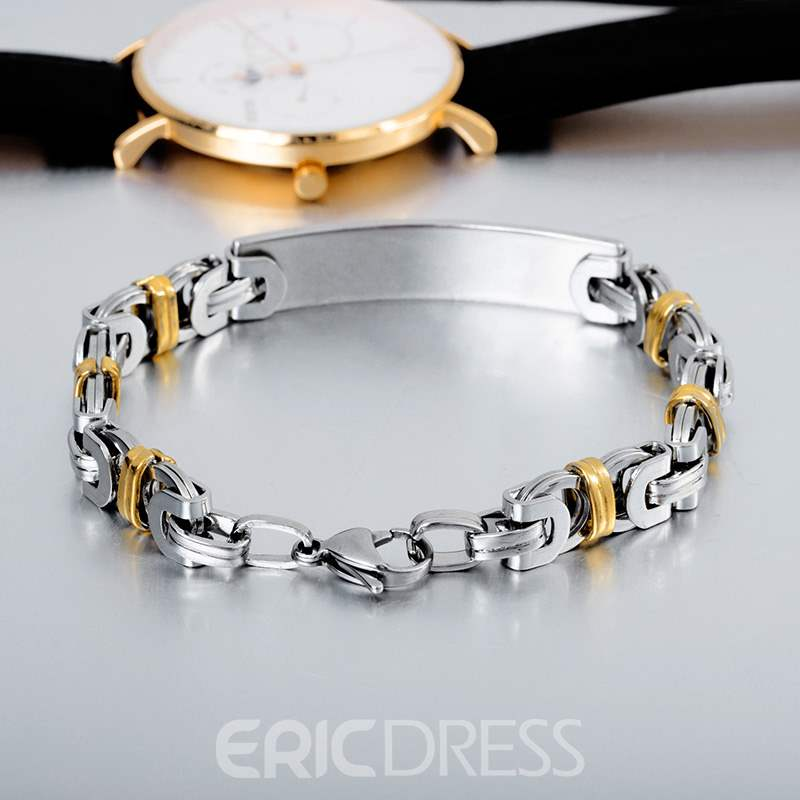 Ericdress Double Colour Titanium Steel Men's Bracelets