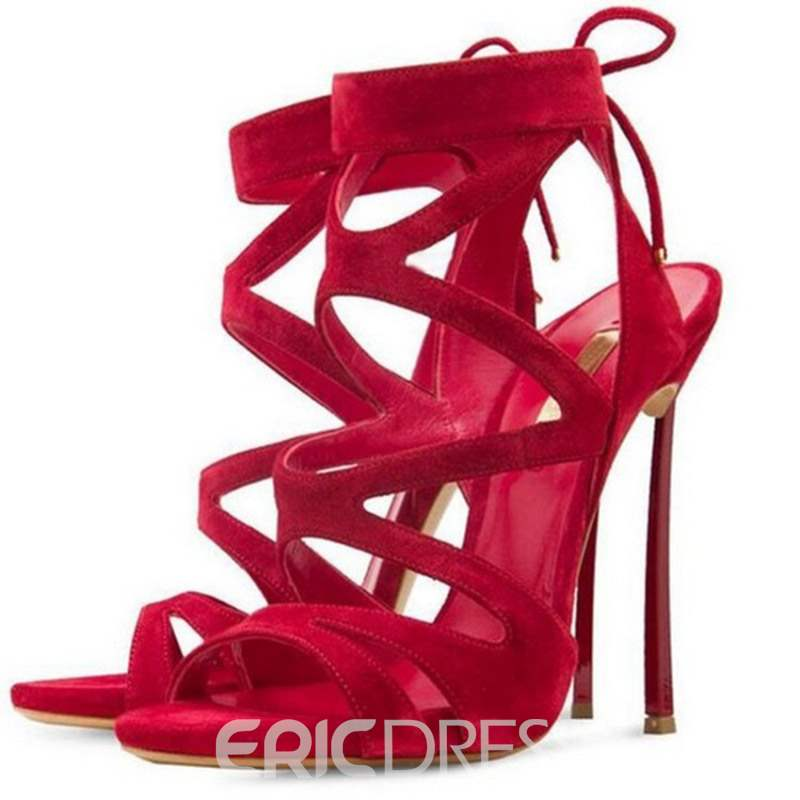 Ericdress Lace-Up Strappy Stiletto Heel Women's Sandals