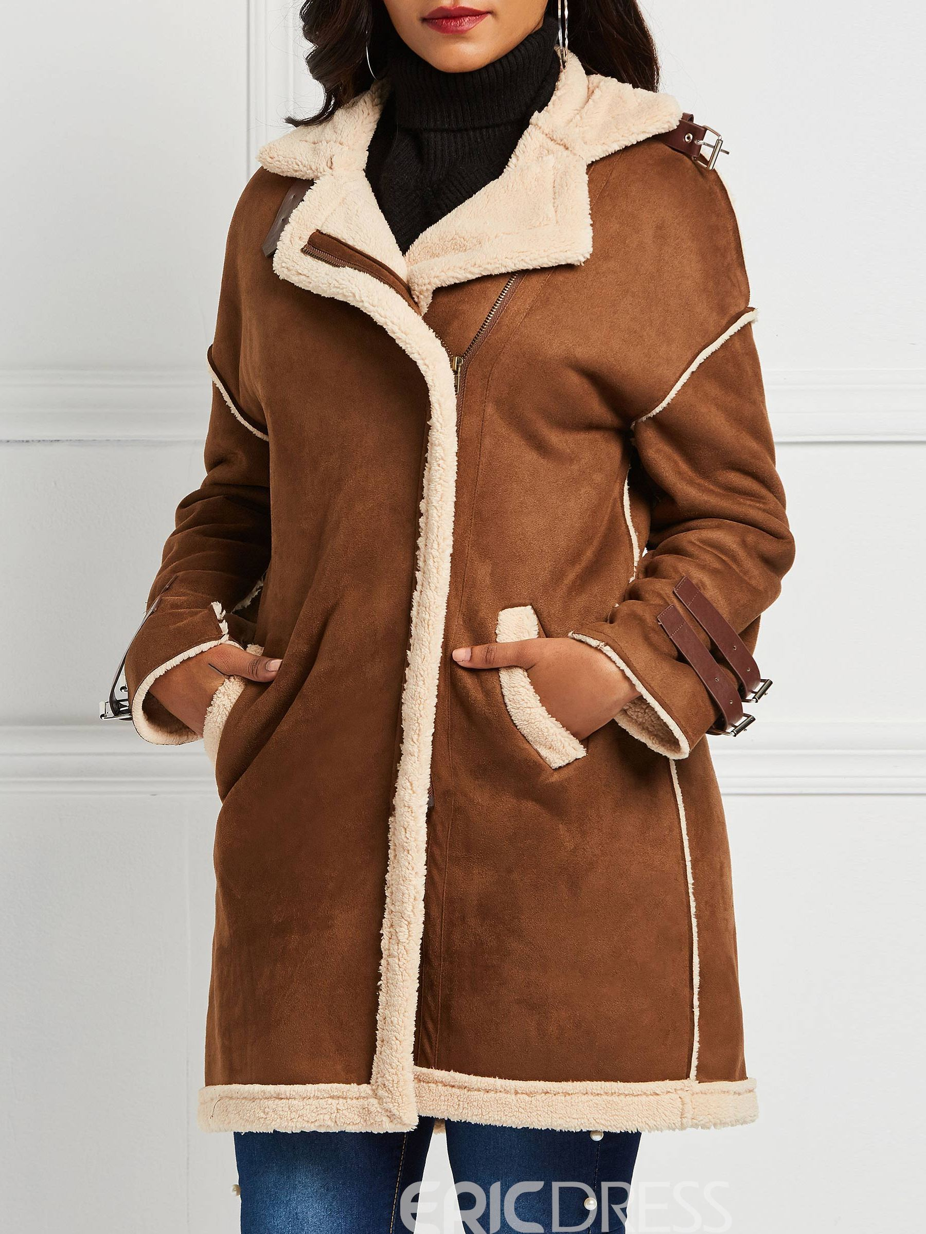 Ericdress Long Plain Hooded Single-Breasted Trench Coat
