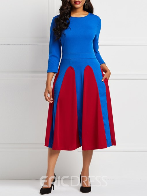 Ericdress Long Sleeve Round Neck Color Block A Line Dresses