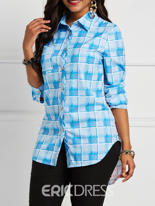 Ericdress Lapel Color Block Print Half Sleeve Mid-Length Blouse