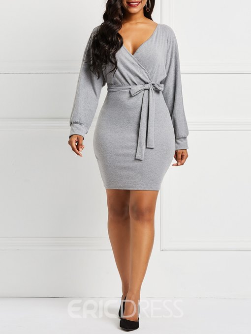 Ericdress Long Sleeve Pullover V-Neck Plain Lace-Up Dresses