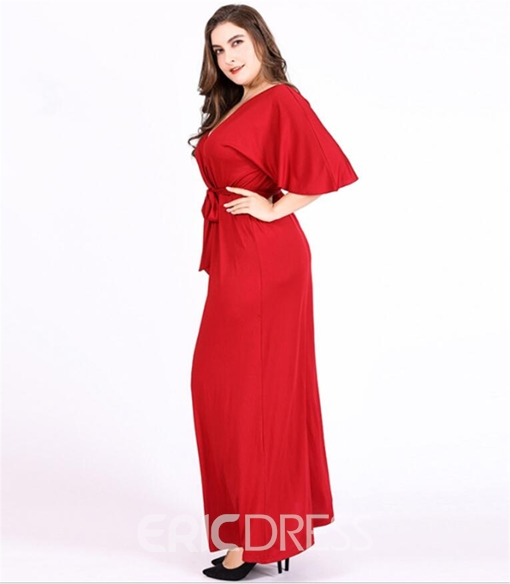 Ericdress Plus Size Lace-Up Ankle-Length V-Neck A-Line Pullover Dress