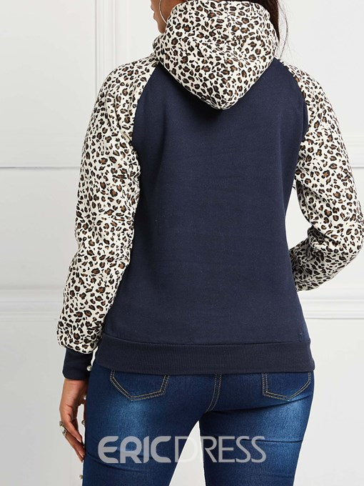 Ericdress Pocket Raglan Sleeve Leopard Fleece Standard Hoodie