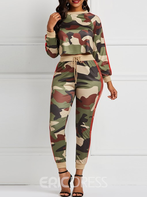 Ericdress Camouflage Patchwork Print T-Shirt and Pencil Pants Women's Two Piece Sets