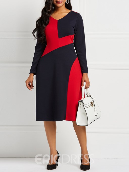 Ericdress Long Sleeve Color Block A Line Office Lady Dresses
