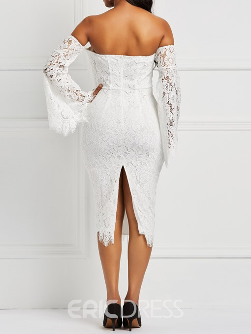 Ericdress Lace Mid-Calf Long Sleeve Off Shoulderl Dress