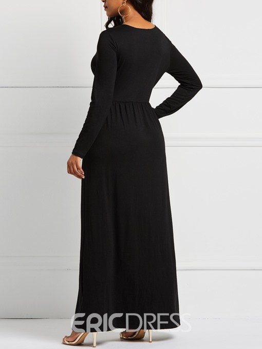 Ericdress Long Sleeve Single-Breasted Floor-Length Fall High-Waist Dresses