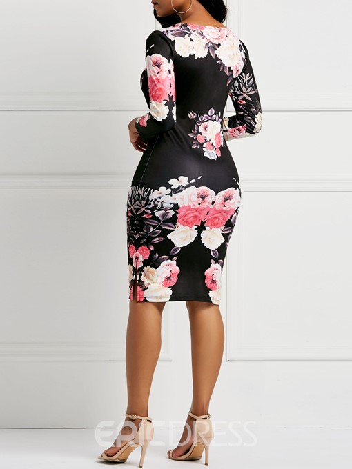 Ericdress Long Sleeve Pullover Print Bodycon Floral Dresses