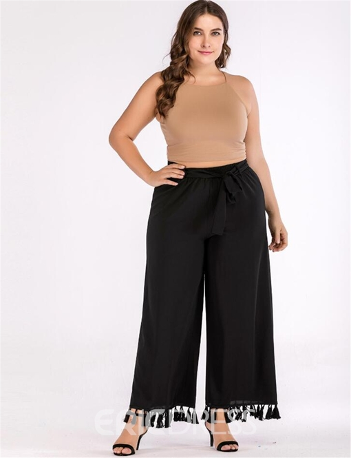 Ericdress Plus Size Loose Plain Tassel Wide Legs Casual Pants