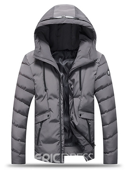Ericdress Plain Hooded Thick Zipper Small Size Men's Down Jacket