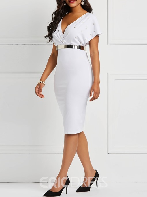 Ericdress Bead Mid-Calf V Neck Bodycon Dresses(Without Waistband)