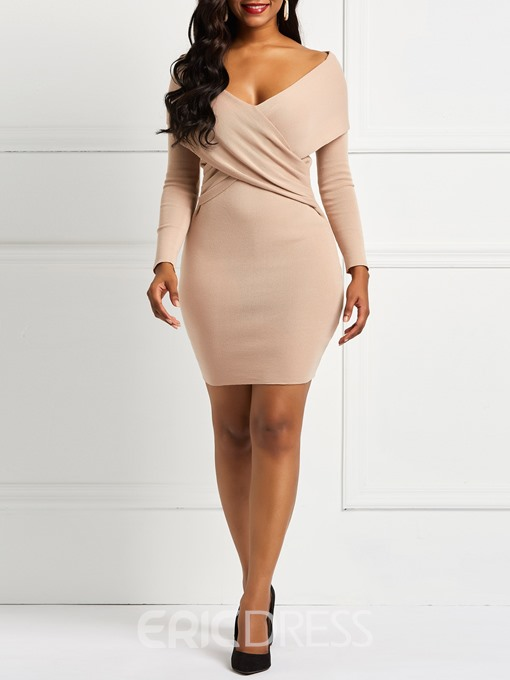 Ericdress Knitted Long Sleeve Off the Shoulder Dress