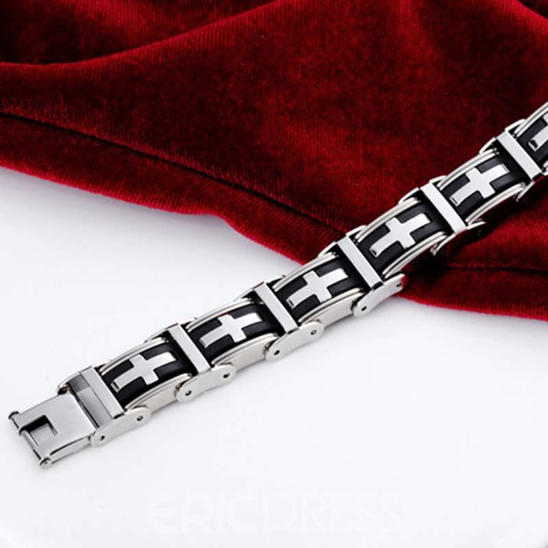 Ericdress Cross Titanium Steel Men's Bracelet