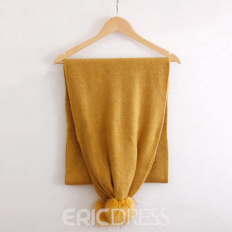 Ericdress Pure Color Plush Ball Warm Scarf