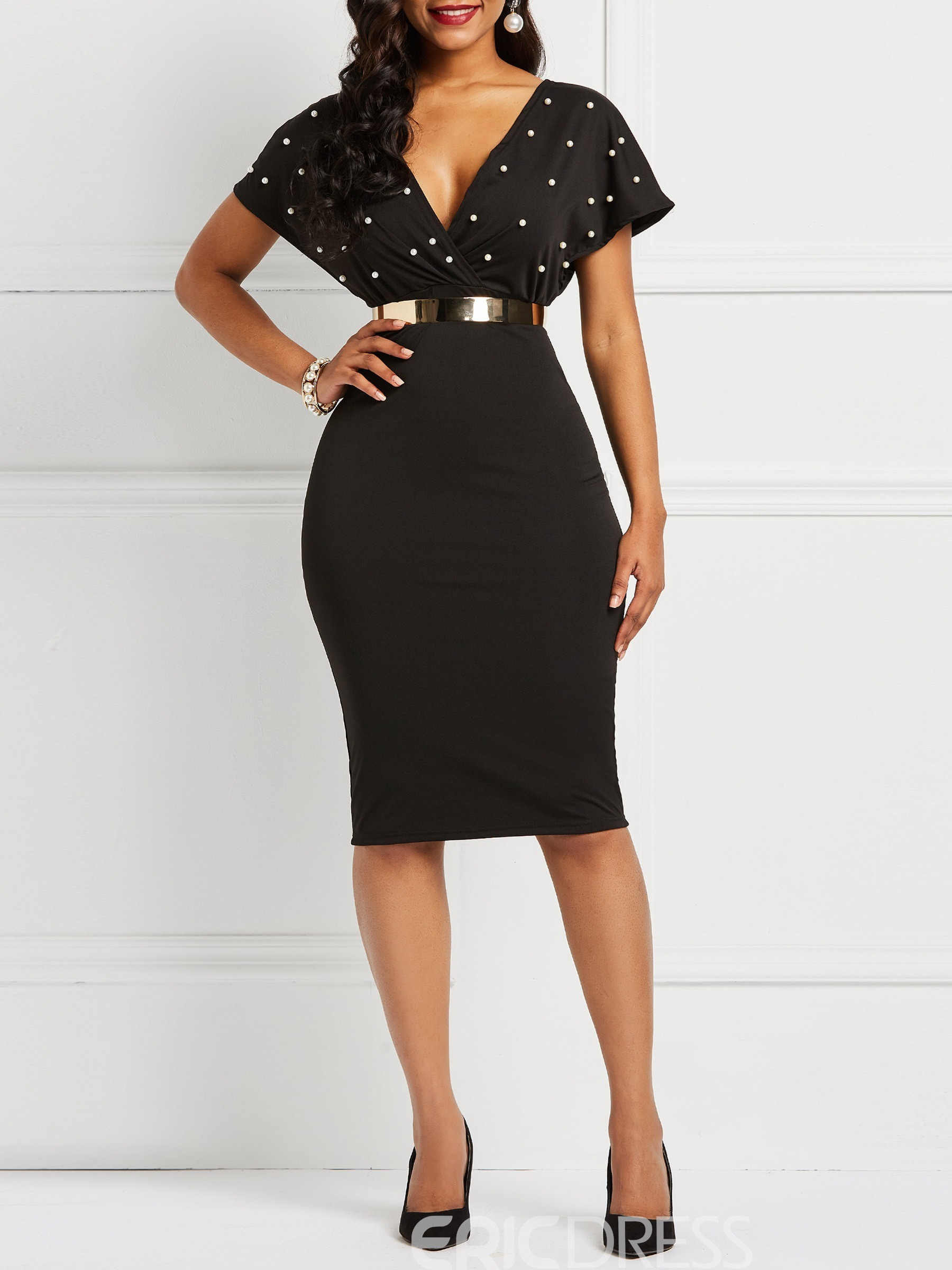 Ericdress Bead Mid-Calf V Neck Bodycon Dresses