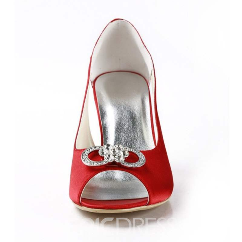 Ericdress Rhinestone Stiletto Heel Slip-On Wedding Shoes