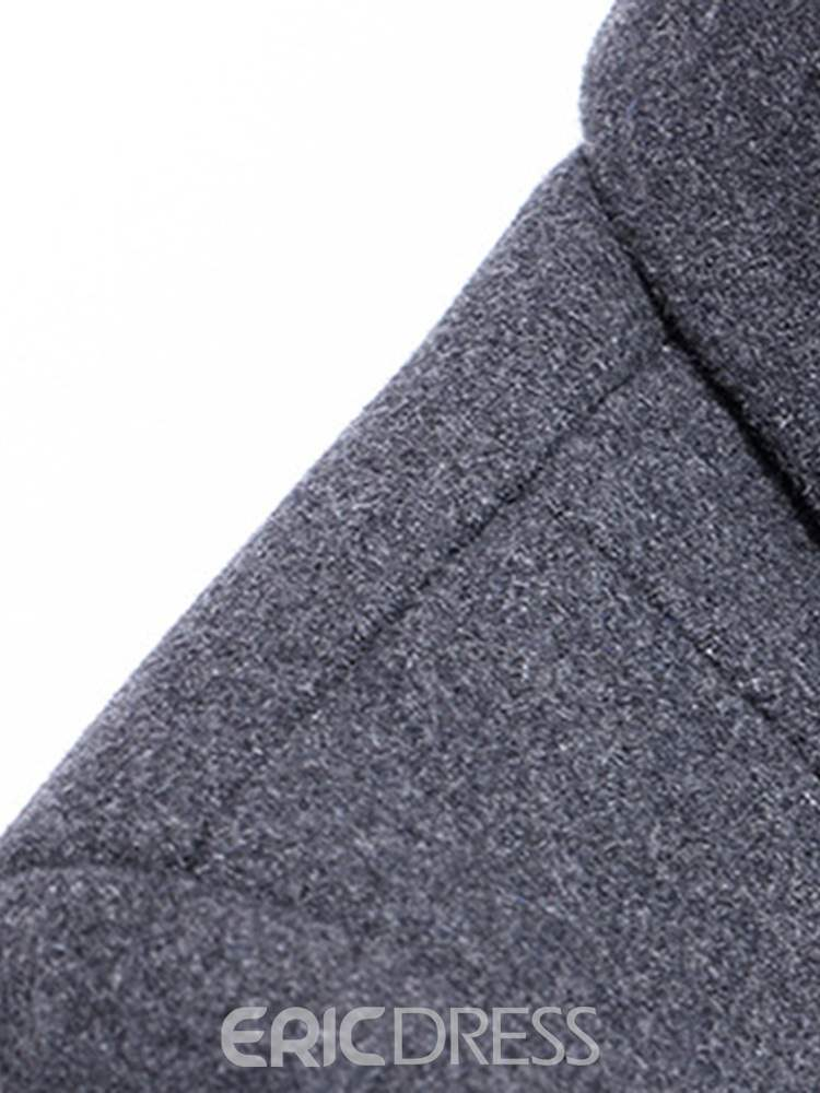 Ericdress Slim Plain Mid-Length Pocket Mens Casual Woolen Coat
