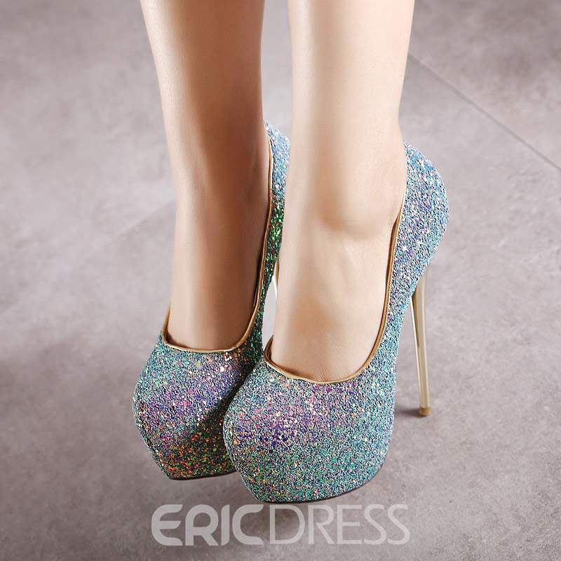 Ericdress Sequin Round Toe Slip-On Platform Women's Pumps