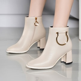 Ericdress Plain Round Toe Side Zipper Ankle Boots