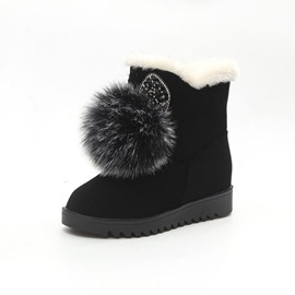 Ericdress Pompon Slip-On Round Toe Women's Snow Boots