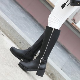 Ericdress PU Side Zipper Chunky Heel Women's Knee High Boots
