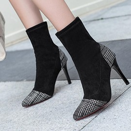Ericdress Plaid Stiletto Heel Slip-On Women's Ankle Boots