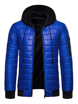 Ericdress Hooded Color Block Patchwork Mens Casual Down Jacket