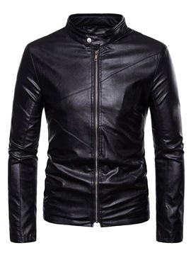 Ericdress Zipper Stand Collar Plain Casual Mens PU Leather Jacket