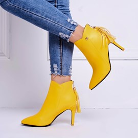 Ericdress Tassel Pointed Toe Plain High Heel Boots