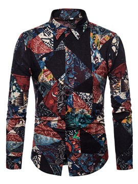 Ericdress Lapel Print Color Block Mens Fall Slim Shirt