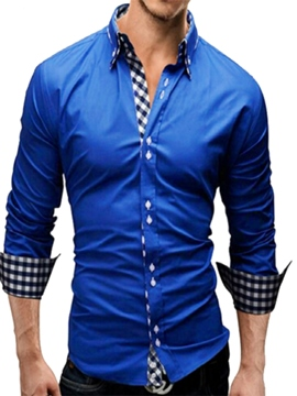 Ericdress Plaid Patchwork Long Sleeve Men's Button Down Shirt