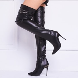 Ericdress Sexy Girl noir orteil Point genou Bottes montantes