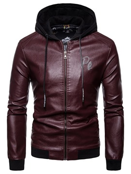 Ericdress Letter Hooded Zipper Mens Casual PU Leather Jacket