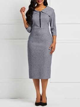 Ericdress Pullover Mid-Calf Zipper Bodycon Plain Dresses