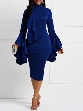 Ericdress Ruffles Knee-Length Stand Collar Falbala Blue Bodycon Dresses