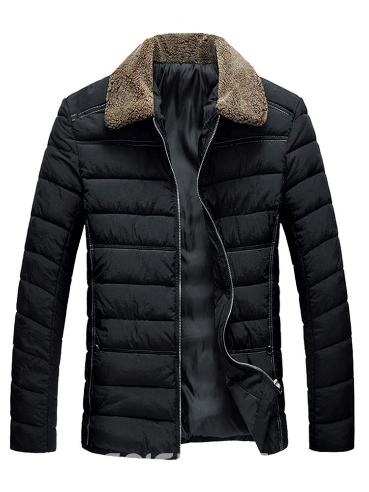 Ericdress Lapel Plain Zipper Mens Casual Quilted Jacket