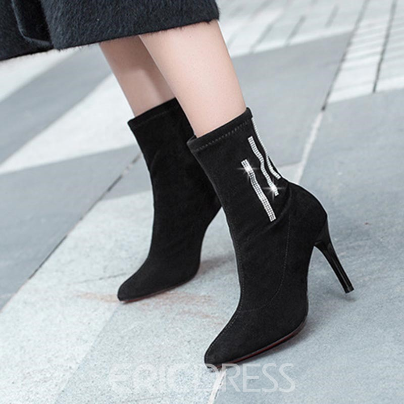 Ericdress Plain Rhinestone Slip-On Pointed Toe Women's Ankle Boots