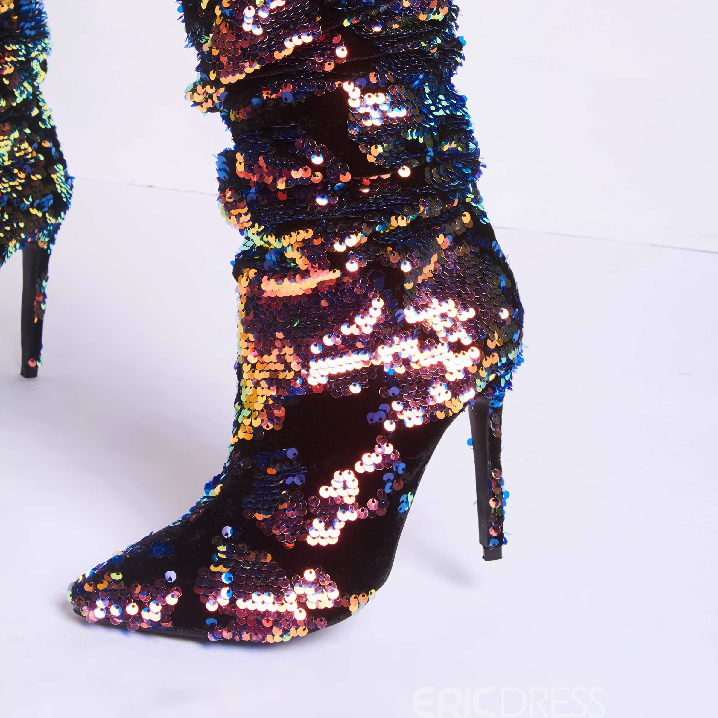 Ericdress Glitterring Gradient Slip-On Stiletto Heel Women's Boots