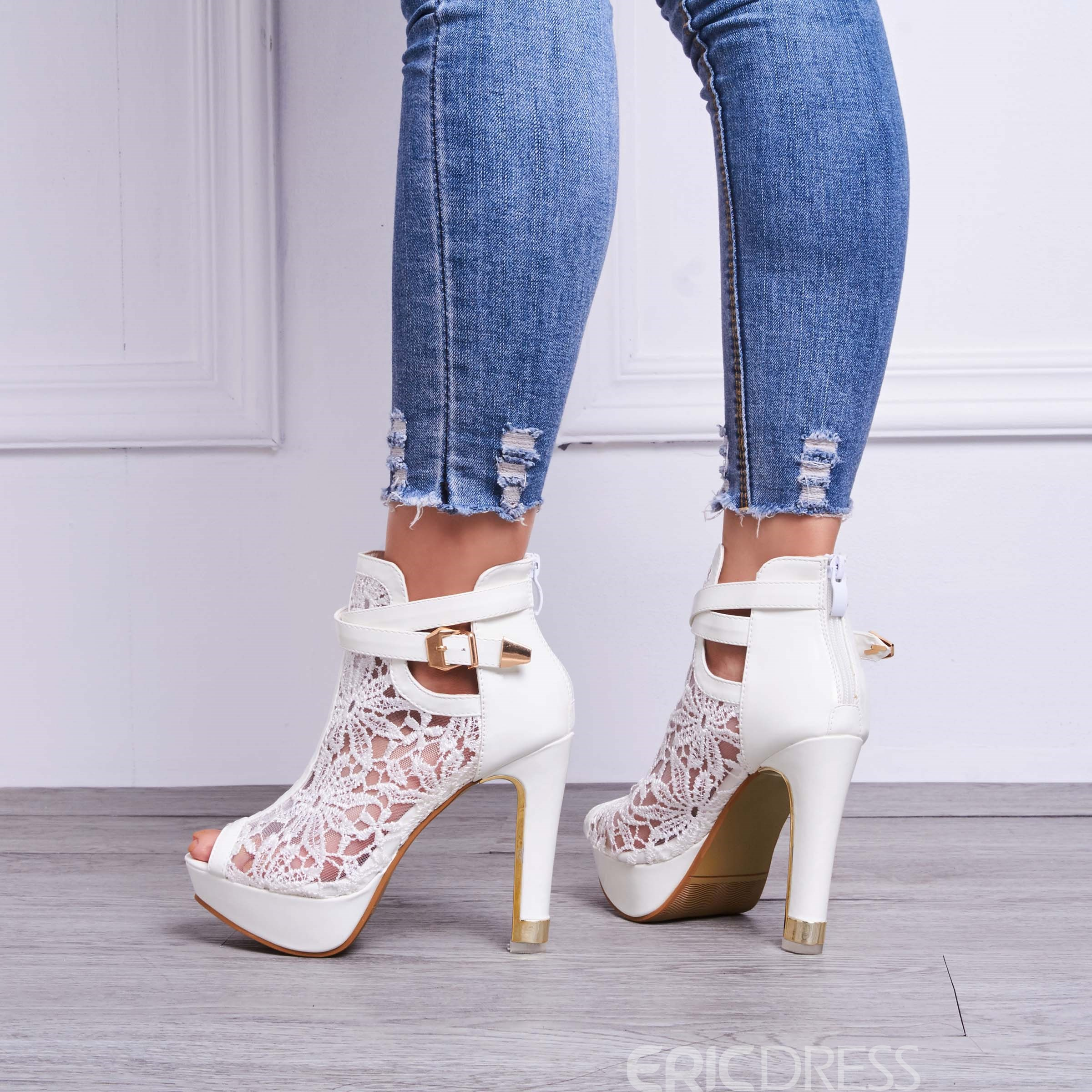 Ericdress Lace Detail Peep Toe White Heeled Platform Sandals