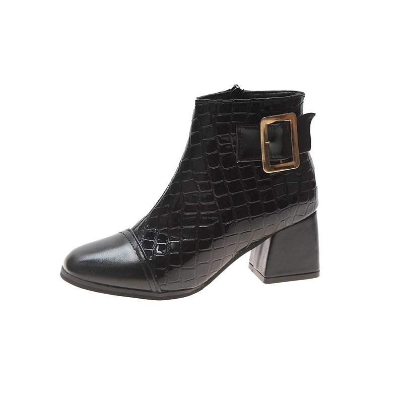 Ericdress Square Toe Side Zipper Chunky Heel Women's Boots
