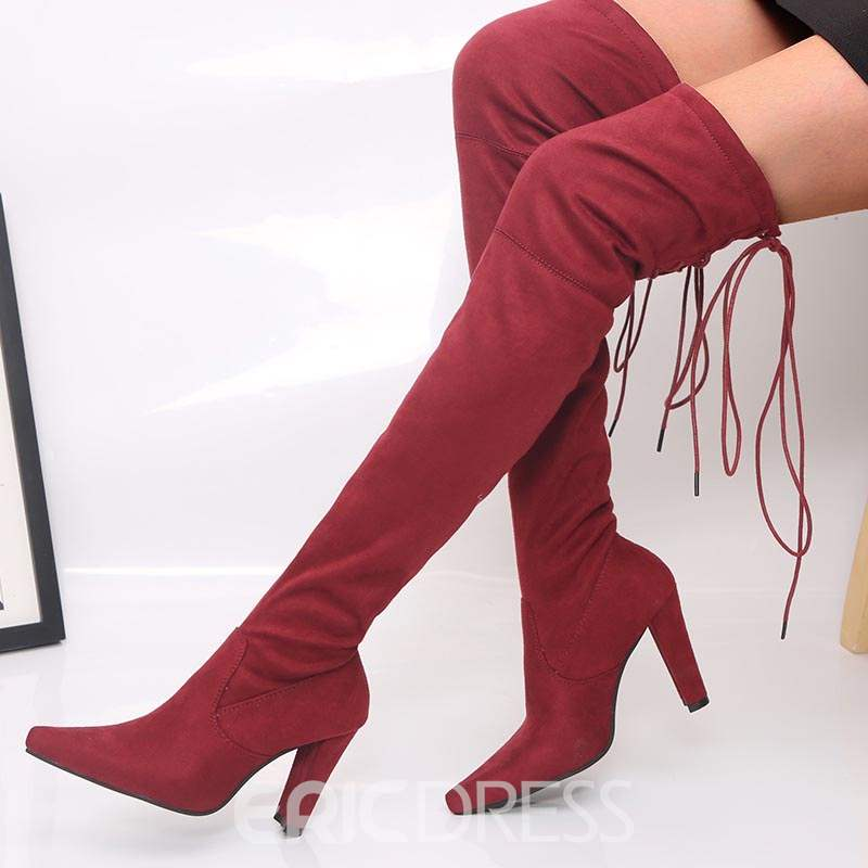 25cfe581685e Ericdress Pointed Toe Chunky Heel Thigh High Boots 13544821 ...