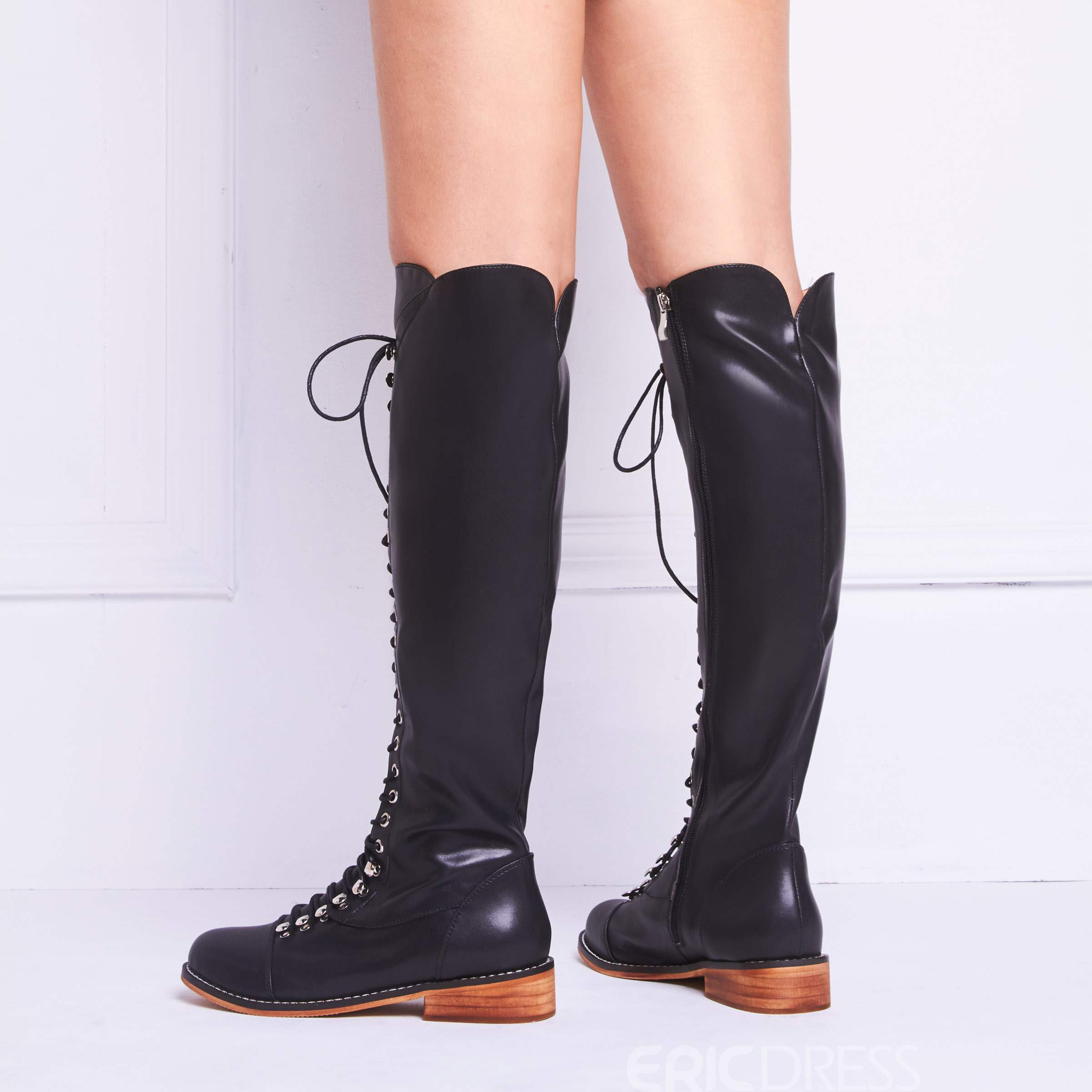 Ericdress Lace-Up Front Round Toe Block Heel Women's Knee High Boots