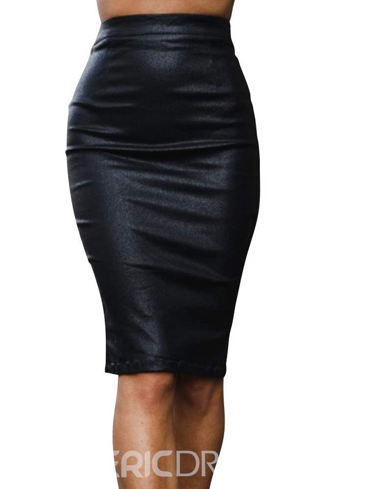 Ericdress PU Knee-Length Zipper Plain Fashion Womne's Column Skirt