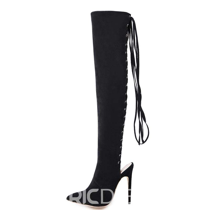 Ericdress Stiletto Heel Pointed Toe Cross Strap Knee High Boots