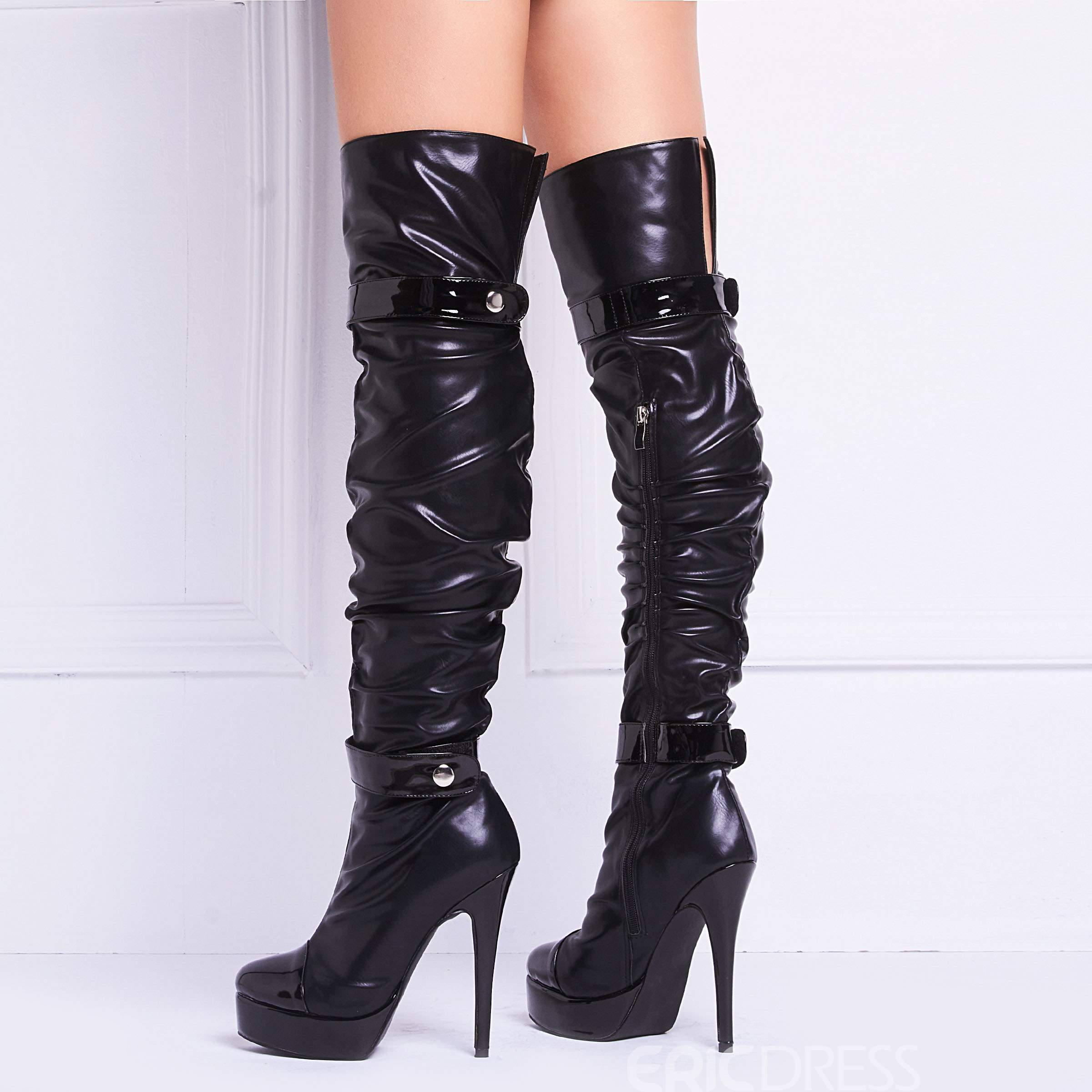 Ericdress Black Cool boucles Knee High bottes