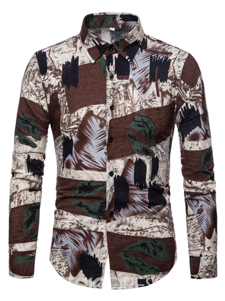 Ericdress Patchwork Print Lapel Men's Fall Slim Shirt
