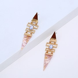 Ericdress Triangle Amber Earrings